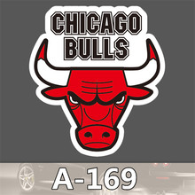 A169 bulls LOGO PVC leaflet red toon waterproof tide brand boot dead fly slide  stickers