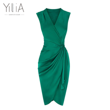 Yilia 2017 New Green Pure Silk Dresses Women High Quality V Neck Sleeveless Ruched Pleated Wrap Sexy Elegant Party Bodycon Dress
