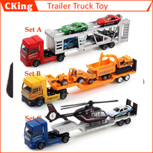 1 Set Super Cool 1:36 Alloy Trailer Mini Flatbed Trailer Truck Alloy Metal Model Car Toy for Children/Boys/Girls Free Shipping