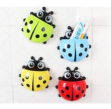 Lovely Ladybug Toothbrush Wall Suction Bathroom Sets Cartoon Sucker Toothbrush Holder / Suction Hooks(China)