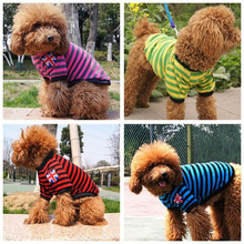 Striped Pattern Dog Cat Clothes Vest Pure Cotton Dog T Shirts Coat Spring Summer Doggy Dog Apparel Cute Pet Accerssories(China)