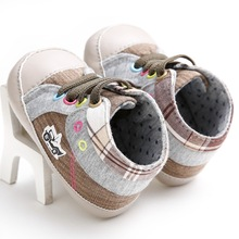 HONGTEYA Newest Style Hot Sale Toddlers canvas boys Baby Shoes Lace Up Baby Moccasins First Walkers Cowboy Newborn Boots