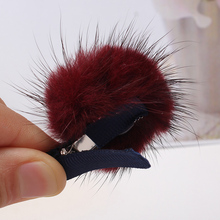 Mink Ball Hairpins for Cute Baby Girls Headwear Children Accessories Hairpins Protect Hair Well Kids Kawayi Hair clip