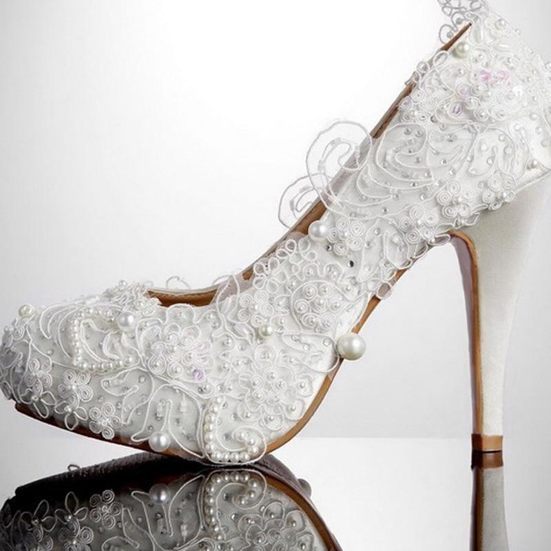 Fashion Wedding Dress Shoes Lace Imitation Pearl Deco Bride Shoes Prom Dress Shoes Pumps Stiletto High-heeled Shoes<br><br>Aliexpress