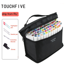 Pens Markers TOUCHFIVE Drawing Dual-Tip 60-Color-Set Graffiti Sketch-Alcohol-Based White