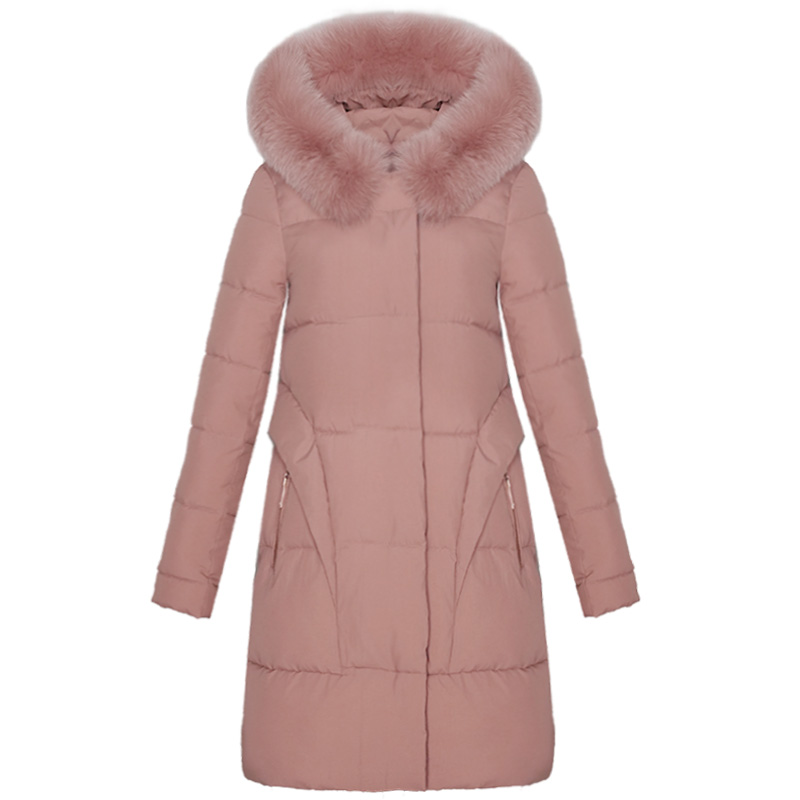 KMETRAM Winter Women Down Cotton Jacket Ladies Pink Slim Long Coats Thick Fur Collar Outwear Parkas Casaco Feminino 2019 MY255