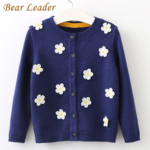 Bear Leader Girls Sweater 2017 New Autumn&Winter Pullover Long Sleeve Cotton Flowers Sweater For Children Knitted Sweater 3-7Y(China)