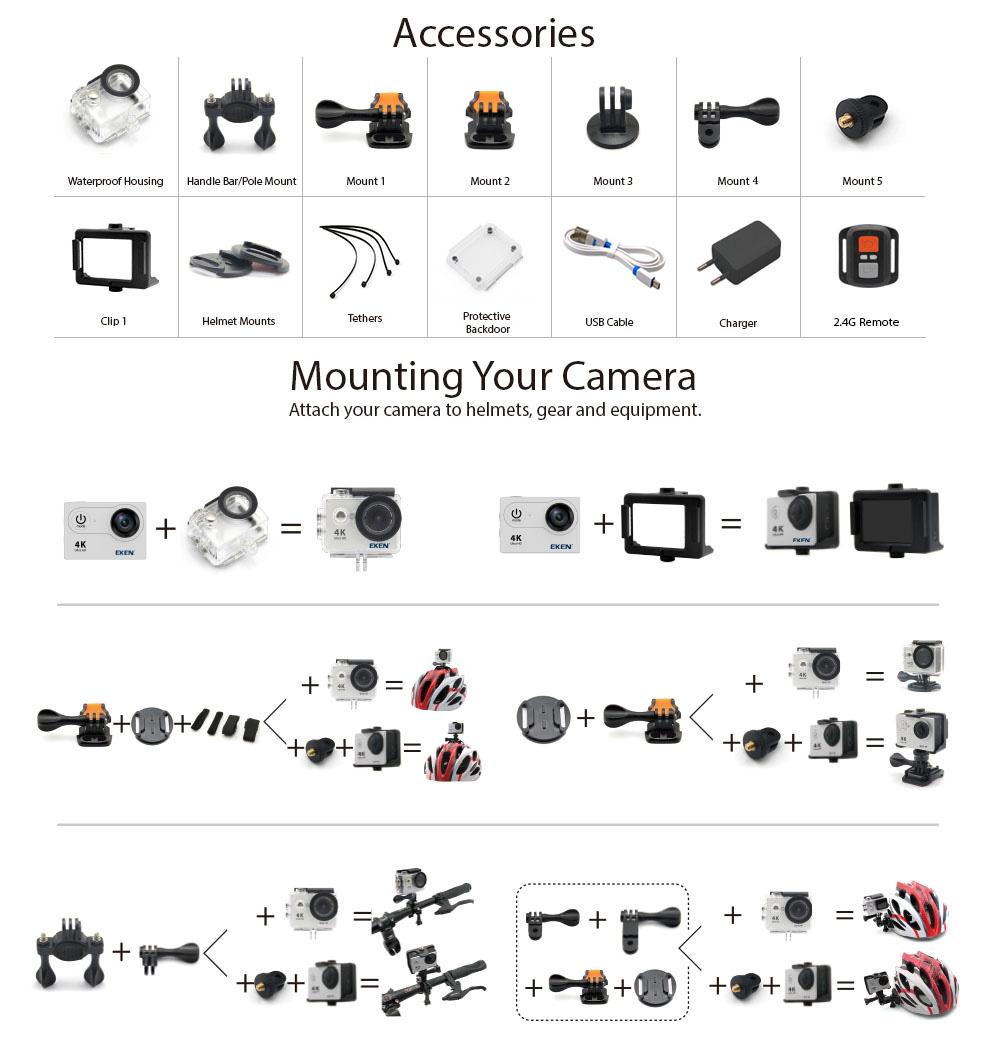 New Arrival!Original Eken H9R / H9 Ultra HD 4K Action Camera 30m waterproof 2.0' Screen 1080p sport Camera go extreme pro cam 15