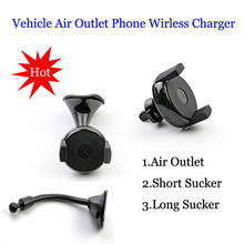 iFavor New 360 Degree Rotating Car Air Outlet Wireless Charger Mobile Phone Holder QI Standard Vehicle Navigation Sucker Charger