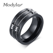Modyle 2017 New Punk Rock Ring Fahsion Stainless Steel Party Jewelry Cool Wire Rings For Men(China)