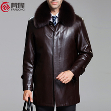 large size man coat Free shipping Men's leather sheep skin leather fox fur collar fur Nick clothing for / M-4XL