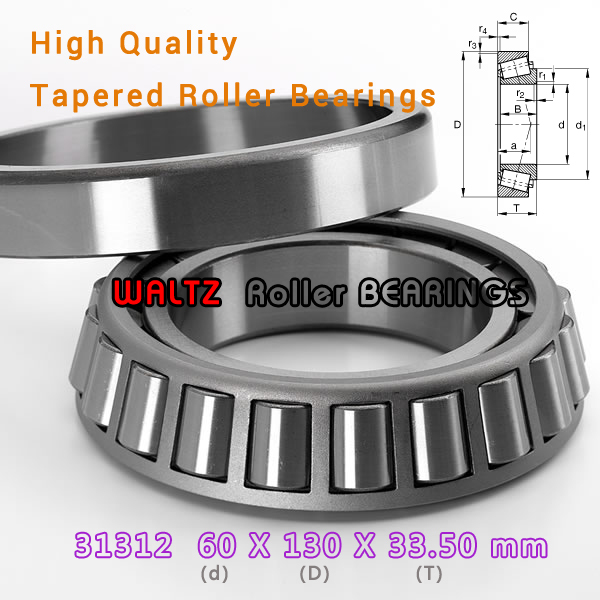 60mm Bearing 31312 27312 E 31312A 31312J2 60x130x33.5  High Quality Single-row Tapered Roller Bearing Cone + Cup<br>