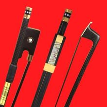 High Quality 1 Pc Professional New Light Plaid Carbon Fiber 4/4 Violin Bow Copper Part Black Horse Hair Double Pairs Eye Frog(China)