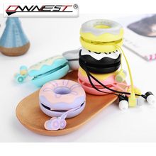Ownest Cute Doughnut Macaron Earphones With Microphone Colorful Sweet Donut Pattern Earphone Earbud For Kids Girls Children(China)