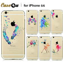 Buy Fashion Watercolor Art Transparent Soft TPU Case Cover Capinhas iphone 7 7plus 6 6s plus 5 5SE Cartoon Animals Mickey Mouse for $1.20 in AliExpress store