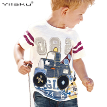 2017 New Brand Kids Summer Clothes Baby Boy Cartoon Car Tops Children Short Sleeve White Cotton T-shirts Baby Clothing CG305