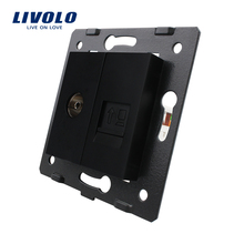 Manufacture Livolo, Black Crystal Glass Panel, 2 Gangs Wall Computer and TV Socket / Outlet VL-C7-1VC-12, Without Plug adapter(China)