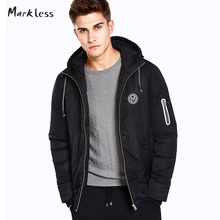 Markless Winter Short Hooded Men Down Coats Brand Clothing Casual Black Down Jackets Warm Outwear Zipper Pocket Sleeve