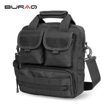 BURAQ Cordura Nylon MOLLE Black Military Messenger Bags Multifunctional Military ipad Bags Tactics Utility Shoulder Bags