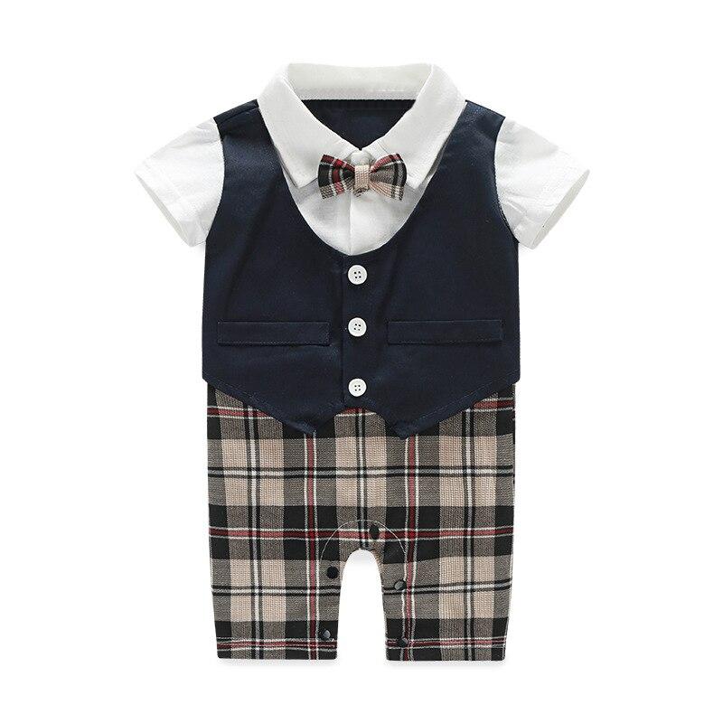 Baby Boy Rompers Black Brown Plaid Crava Romper Jumpsuit Cotton Short Sleeve Baby Boy Clothes Gentleman Summer<br>
