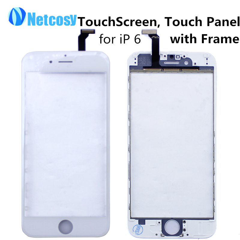 Touch Screen Digitizer Panel Glass Lens Sensor + Frame for Apple for iPhone 6 4.7 TouchScreen Replacement Repair Spare Parts(China (Mainland))