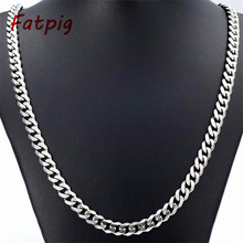"Mens Fashion Jewelry 5/7MM 20""/ 22""/ 24"" Stainless Steel Silver Curb Cuban Chain Necklace Charm Jewelry For Women Hot Sale"