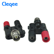 Cleqee P7008 5PCS Q9 BNC Female Jack Plug To Two Dual Banana Jack RF Adapter Connector(China)