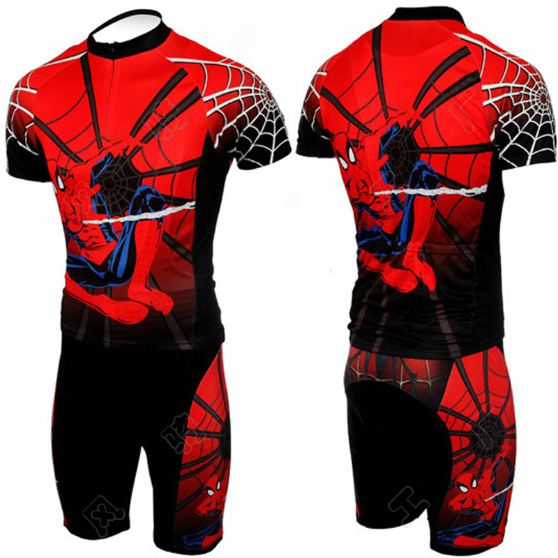 Spiderman Cycling Jersey 2017 Black Biker Outfit Sets with Skull Bike Racing Clothing Short Sleeve Cycling Uniformes Ciclismo<br><br>Aliexpress