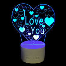 3D Speaker Night Lamp Indoor Bluetooth Speaker USB Music Standing LAMP Bedside Lampara With Color Changeable I LOVE U Star Light