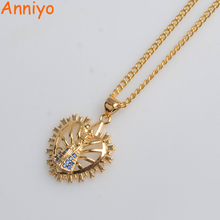 Anniyo Small Basilica of Our Lady of Aparecida Necklaces Gold Color Zirconia The Virgin Mary Jewelry Catholicism Items #055302(China)