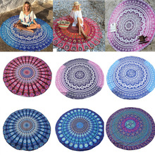 Hot Indian Mandala Tapestry Peacock Printed Beach Towel Yoga Mat Sunblock Round Bikini Cover-Up Blanket Throw(China)