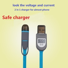 2016 hot sale!!2 in 1 Sync USB Charger Cable LCD Digital Indicator Current Voltage Protector for iPhone Android Phone