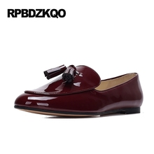 Red Wine Retro Round Toe Tassel Designer Shoes Women Luxury 2017 Patent Leather Slip On Flats Fringe Loafers British Style Black
