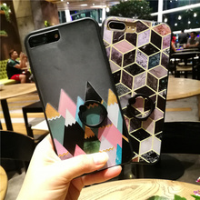 Diamond Marble Finger Ring Case For Coque iPhone 6 6s 6plus 7 7plus Cases Capinha With Stand Design TPU Silicone + PC Funda(China)