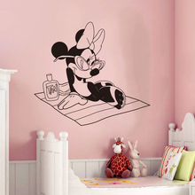 Creative New Minnie Beach Custom Kids Name baby wall stickers for kids rooms home decoration wall stickers # T155