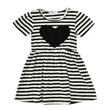 Moonlightzhou Toddler Girl Dresses 2017 Summer Fashion Heart Baby Girls Dress Black White Stripe Short Sleeve Kids Dress Clothes(China)