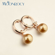 Buy MOONROCY Free Fashion Jewelry Austrian Crystal Women rose Gold Color Imitation pearl Earring Gift for $3.39 in AliExpress store