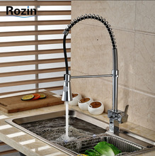 Single Handle Dual Swivel Sprayers Kitchen Mixer Faucet Deck Mount Kitchen Bar Hot and Cold Water Taps