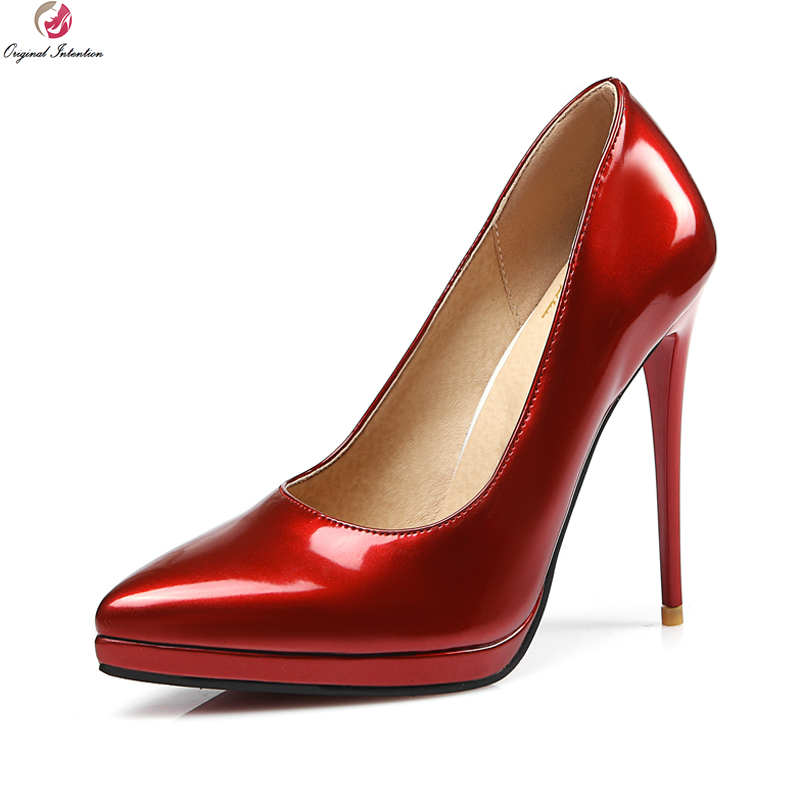 Original Intention Fashion Women Pumps Platform Pointed Toe Thin High Heels Black Pink Nude Red Shoes Woman Plus US Size 3-13<br>