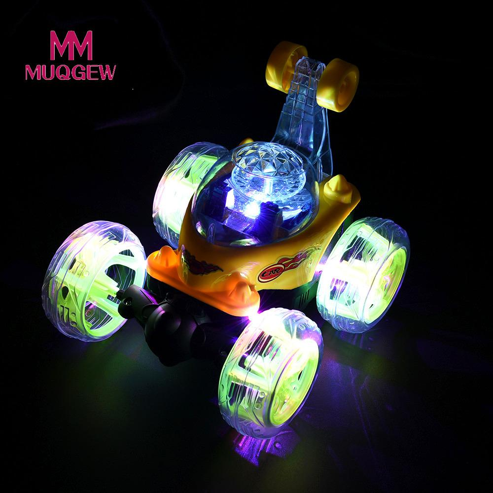 MUQGEW Brand Toys 360 Spinning Flips RC Cars Color Flash & Music Kids Remote Control Truck Outdoor Oyuncak Boy