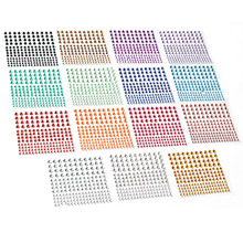 2580 pcs Rhinestone Stickers in 15 Colors & 3 Sizes, 15 Sheets DIY Self Adhesive Colorful Gem Rhinestone Embellishment Stickers(China)