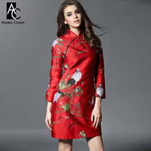 2016 winter spring designer womens dresses yellow red mini cheongsam chi-pao crane embroidery fashion vintage slim brand dress(China)