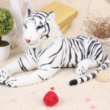 about 48cm simulation prone white tiger plush back cushion throw pillow toy home decoration gift a1249