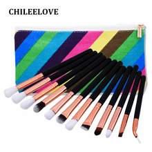 CHILEELOVE 12 Pcs/Set Eye Face Makeup Brush Kit Cosmetics Tool Makeover Base Make Up With Bag for Women Girl