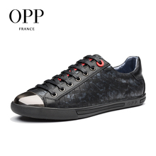 OPP 2018 Men Shoes Loafers Men Cow Leather Flats Shoes Casual 4 Seasons Shoes Leather Loafers New Patchwork Leather footwear