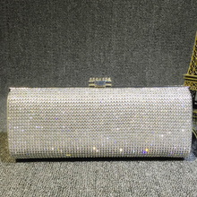 New Arrival Luxury Diamond evening bag Rhinestone Clutch Evening Crystal wedding party bag wallet Ladies long purse silver/black