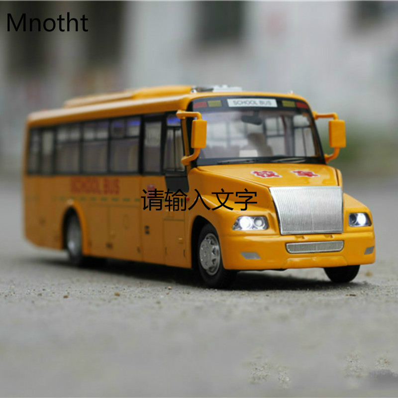 Yellow School bus Diecast Car Models 1:32 Alloy Mini Pull Back Flashing Musial Educational Kids Toys Vehicles L60(China)