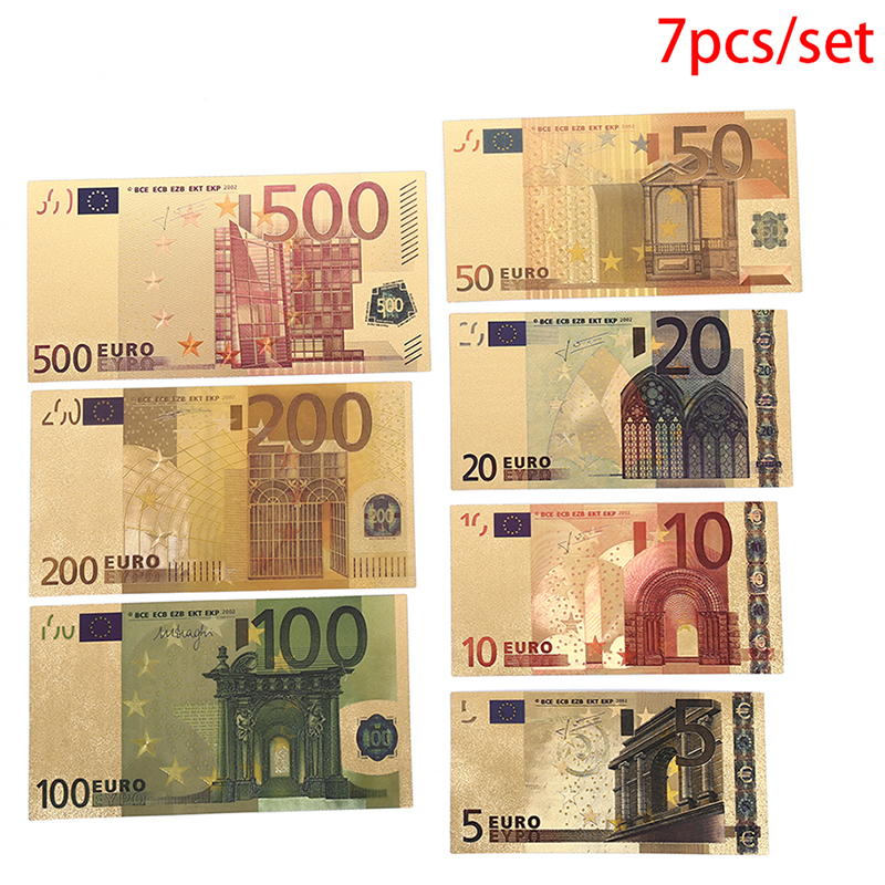 7pcs/Set Euro Gold Foil Commemorative Coin Paper Money Non Currency Arts Crafts Collection Gifts