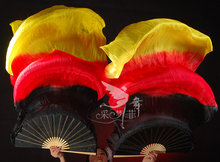 high quality Chinese silk veils dance fans Pair of belly dancing fans Black- Red - Yellow Belly Dance fan veil