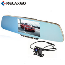 "Relaxgo 5"" Top Grade Car DVR Dual Camera Rearview Mirror Car Camera Video Recorder Full HD 1080p Night Vision Dash Cam Parking(China)"